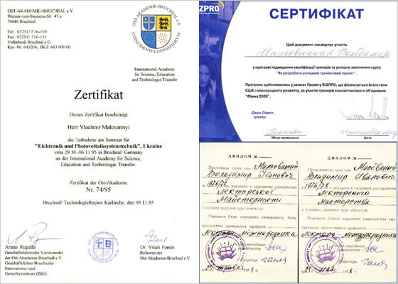 Certificates have been given by International Academy for Science, Education and Technology Transfer, Bruchsal, Germany; by Public University of Lecture Skill, Poltava