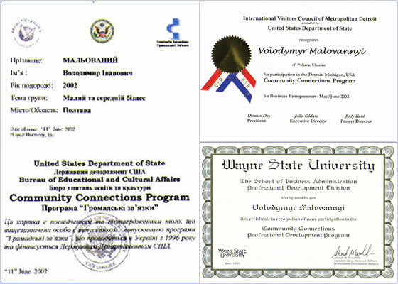 Certificates have been given by United States Department of State, Bureau of Educational and Cultural Affairs, Community Connection Program, School of business administration