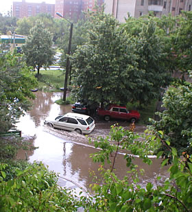 Global warming. In Poltava, Ukraine tropical downpours are frequent